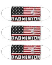 Badminton us flag mas Cloth Face Mask - 3 Pack front