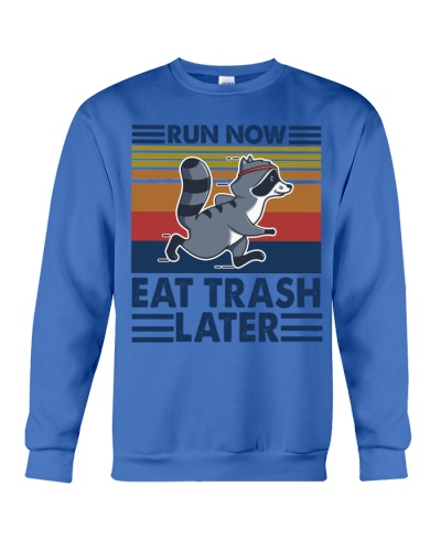 raccoon running run now eat trash