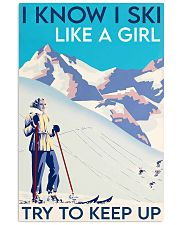 Skii girl try to keep up poster 11x17 Poster front