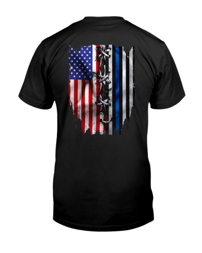 us flag police blue thin flag