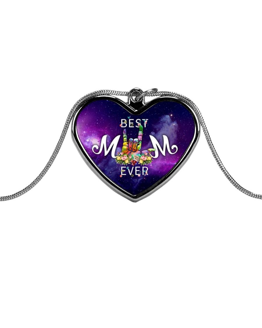 best-mom-sign-language Metallic Heart Necklace