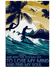surfing into ocean poster 11x17 Poster front