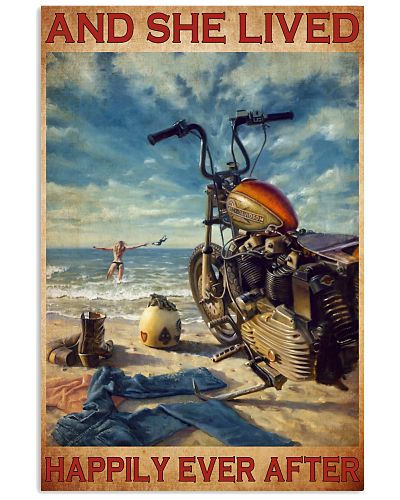 Girl Motorcycle Beach poster