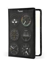flight instruments pilot custom notebook mttn nna Medium - Leather Notebook front