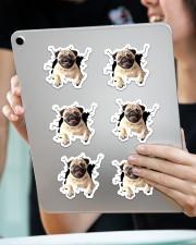 Pug crack sticker Sticker - 6 pack (Horizontal) aos-sticker-6-pack-horizontal-lifestyle-front-11
