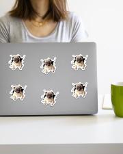 Pug crack sticker Sticker - 6 pack (Horizontal) aos-sticker-6-pack-horizontal-lifestyle-front-20a