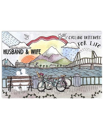 Husband and wife cycling partner