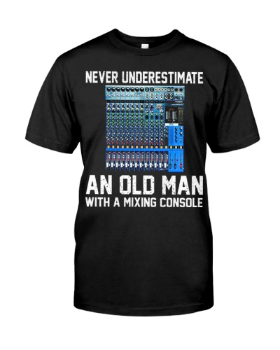 an old man with mixing consol
