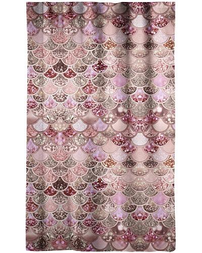 Mermaid Fin Rose Gold Shower Curtain