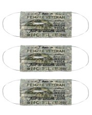 female veteran i dont have an inside voice mas Cloth Face Mask - 3 Pack front