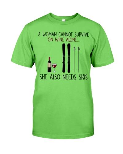 woman skis on wine