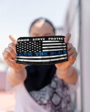 police Honor Serve Protect back the blue mas Cloth Face Mask - 3 Pack aos-face-mask-lifestyle-07