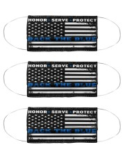 police Honor Serve Protect back the blue mas Cloth Face Mask - 3 Pack front