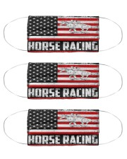 Horse Racing us flag mas Cloth Face Mask - 3 Pack front
