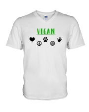 Women's The Future is Vegan Love and Peace V-Neck T-Shirt thumbnail