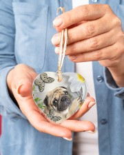 LIMITED EDITION - DOG PUG LOVERS 10942A Heart ornament - single (porcelain) aos-heart-ornament-single-porcelain-lifestyles-01