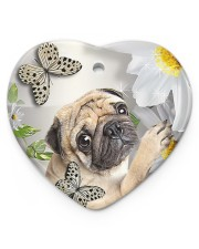 LIMITED EDITION - DOG PUG LOVERS 10942A Heart ornament - single (porcelain) front