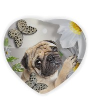 LIMITED EDITION - DOG PUG LOVERS 10942A Heart ornament - single (wood) front