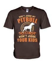 LIMITED EDITION JUDGE MY PITBULL V-Neck T-Shirt front