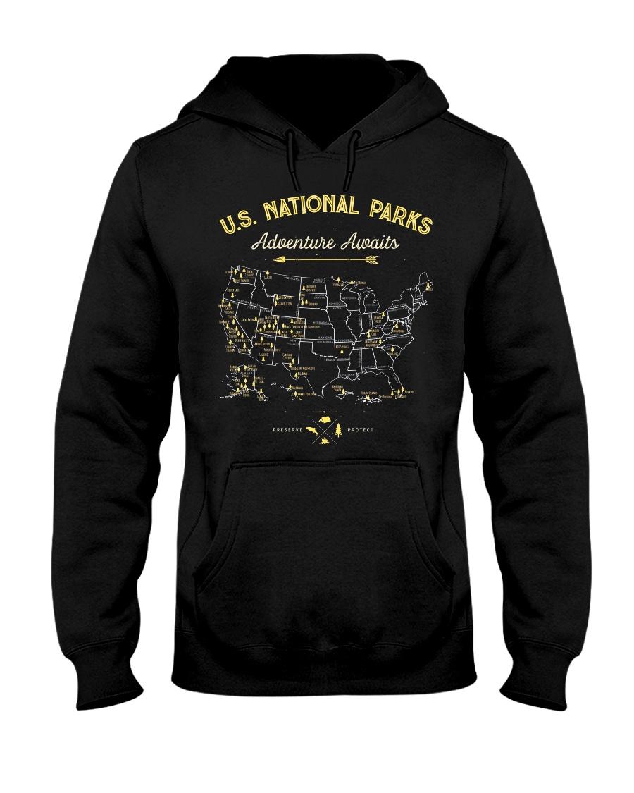 National Park Map Shirt Hooded Sweatshirt