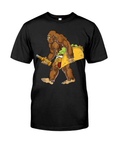 Bigfoot carrying tacos and beer