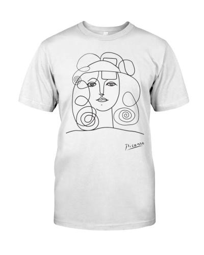 Pablo Picasso lady face minimal line art