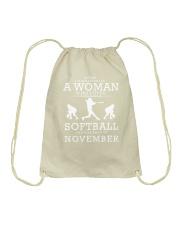 WHO LOVES SOFTBALL AND WAS BORN IN NOVEMBER Drawstring Bag thumbnail