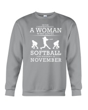 WHO LOVES SOFTBALL AND WAS BORN IN NOVEMBER Crewneck Sweatshirt thumbnail