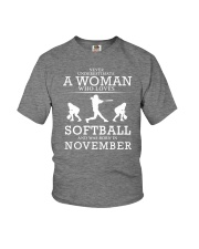 WHO LOVES SOFTBALL AND WAS BORN IN NOVEMBER Youth T-Shirt thumbnail