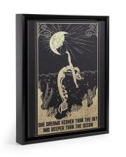 SHE DREAMS HIGHER THAN THE SKY Floating Framed Canvas Prints Black tile