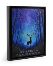 Into the forest I go camping wall art print Floating Framed Canvas Prints Black tile