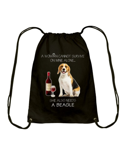 A WOMAN CANNOT SURVIVE ON WINE ALONE BEAGLE