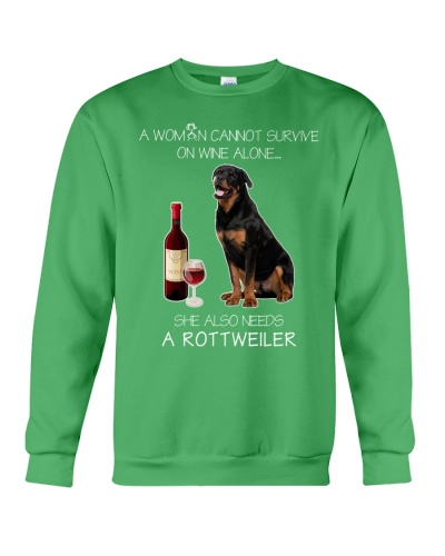 A WOMAN CANNOT SURVIVE ON WINE ALONE ROTTWEILER