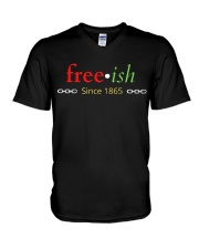 Juneteenth Independence Since 1965 Multicolored V-Neck T-Shirt thumbnail
