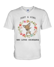 Just a girl who loves chihuahua V-Neck T-Shirt tile