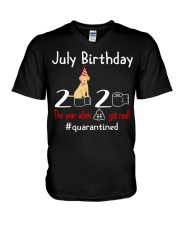 July Birthday with your dog V-Neck T-Shirt thumbnail