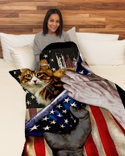 """Independence Day with Cat Large Fleece Blanket - 60"""" x 80"""" aos-coral-fleece-blanket-60x80-lifestyle-front-05"""