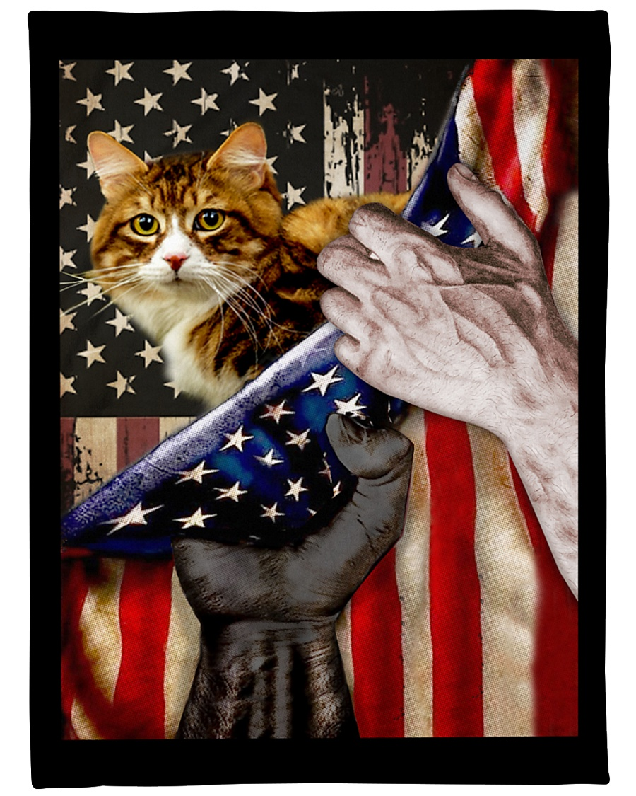 """Independence Day with Cat Large Fleece Blanket - 60"""" x 80"""""""