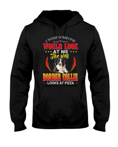 Border Collie Hoodie Look At Pizza