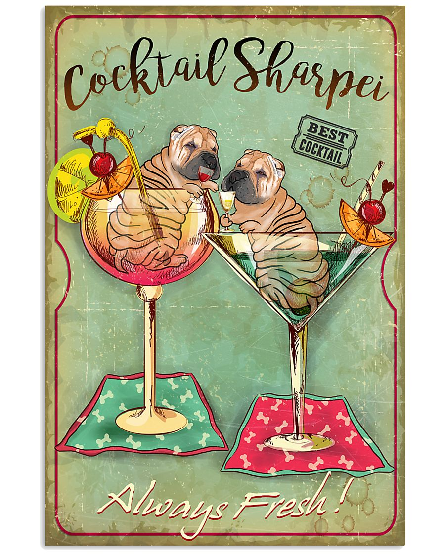 Shar Pei Cocktail 11x17 Poster