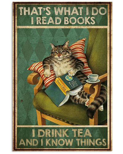 Cat I read books I drink tea