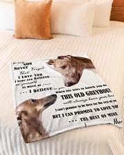 "greyhound to my son Small Fleece Blanket - 30"" x 40"" aos-coral-fleece-blanket-30x40-lifestyle-front-01"