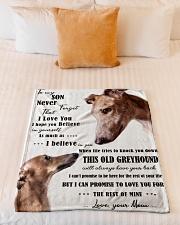"greyhound to my son Small Fleece Blanket - 30"" x 40"" aos-coral-fleece-blanket-30x40-lifestyle-front-04"