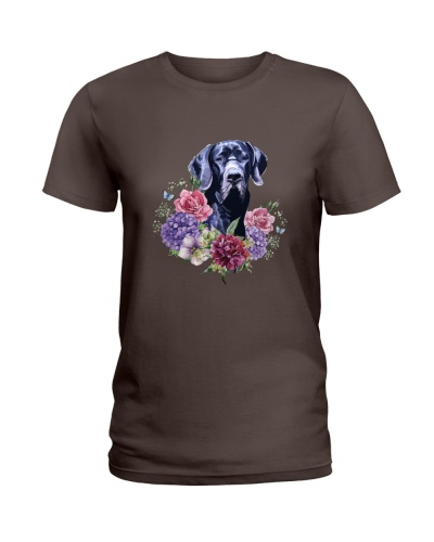 GREAT DANE AND FLOWERS
