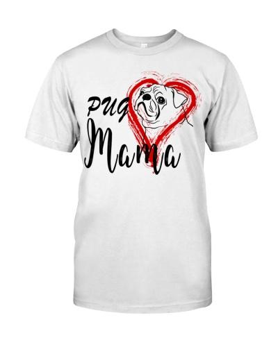 Pug Dog Mama Heart