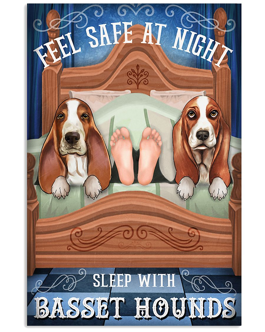Basset Hound Feel Safe At Night 16x24 Poster