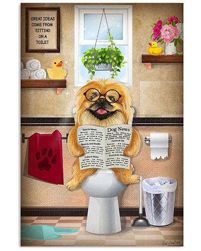 Pekingese Toilet Reading Newspaper