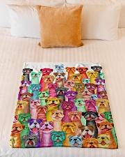 "Bulldog mullti fleece Blanket Small Fleece Blanket - 30"" x 40"" aos-coral-fleece-blanket-30x40-lifestyle-front-04"