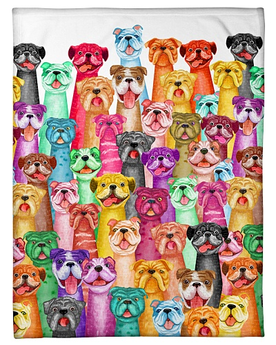 Bulldog mullti fleece Blanket