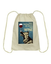 German Shepherd Easily distracted by dogs and wine Drawstring Bag thumbnail